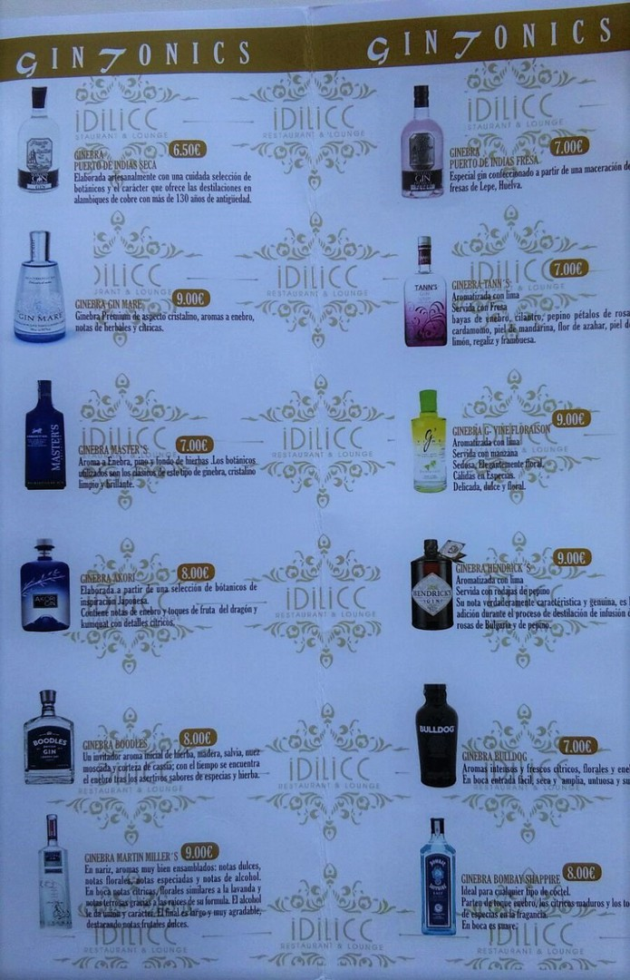 Gins del Lounge bar Idilicc